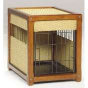 deluxe wood and rattan dog crate
