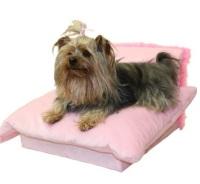 pink dog sofa