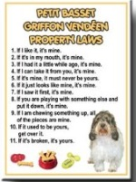 Petit Basset Griffon Vendeen Property Laws Fridge Magnet
