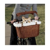 bicycle pet carrier basket made with weather-resistant wicker like resin