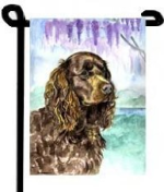 american water spaniel dog - garden flag