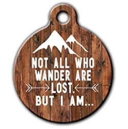 handmade rustic pet ID tag with funny wander message