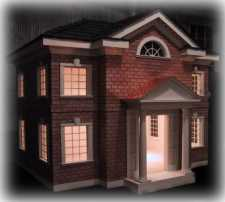 brick colonial style custom dog house