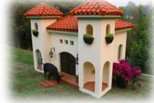custom dog houses in a Spanish style