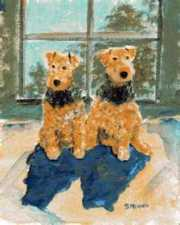 two airedales painting