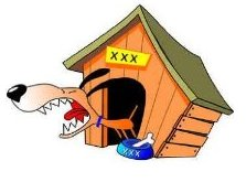 barking dog in front of dog house decal