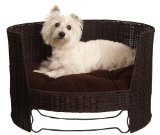 Westie in Wicker Dog Bed