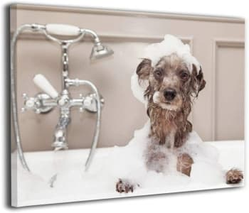 cute art print of dog in bubble bath