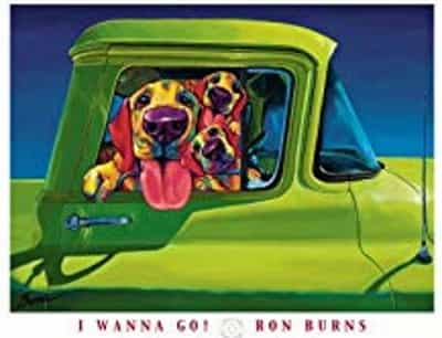 dogs in car art print