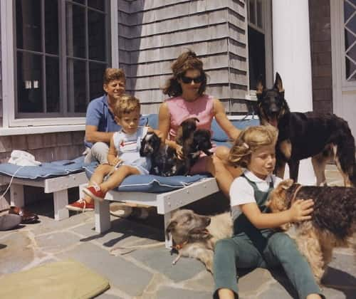 john kennedy family with their dogs