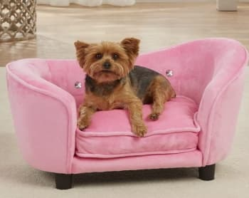 ultra plush pink dog sofa with cute dog